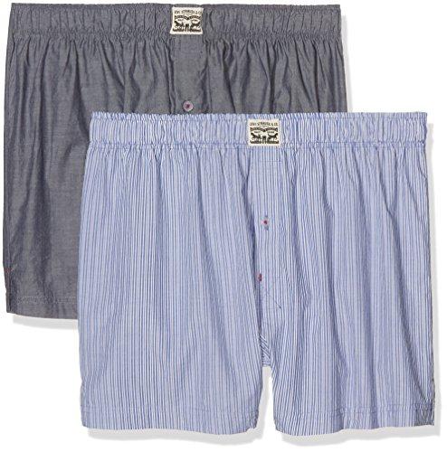 Levi's Herren Boxershorts Levis 300LS Striped Chambray Woven Boxer 2P, 2er Pack, Blau (blue Jeans), X-Large (Boxer-jeans Für Männer)