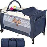 TecTake New Portable Child Baby Travel cot Bed playpen with entryway -Different Colours- (Navy Blue)