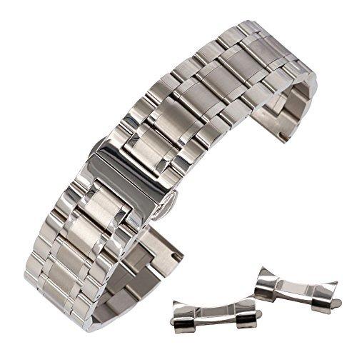 20 mm Bracelet Montre Bracelet en Acier Inoxydable Solide Durable avec Boucle déployante en Argent Facile libération