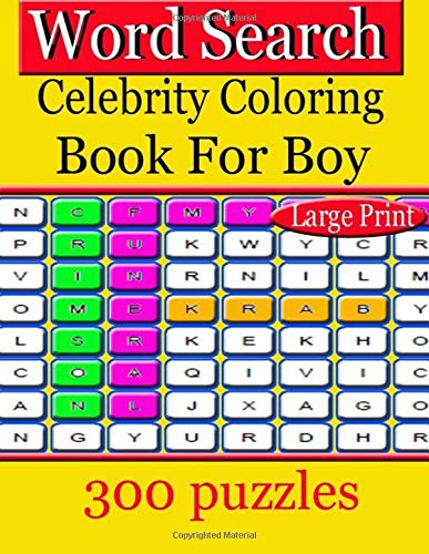 Word Search  Celebrity Coloring Book For Boy: beautiful single-column, wide-margin New Living Translation Bible for coloring and creative  that has become a treasured por jaidee kan