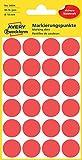 Avery Zweckform 3004 Markierungspunkte (96 Stück, Ø 18 mm) 4 Blatt rot