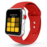 Iyou für Apple Watch Armband 38mm/42mm, Weiches Silikon Ersatzarmband Classic Sportarmband für iWatch Apple Watch Series 3/2/1, Edition, Nike + (38MM M/L, Rot)