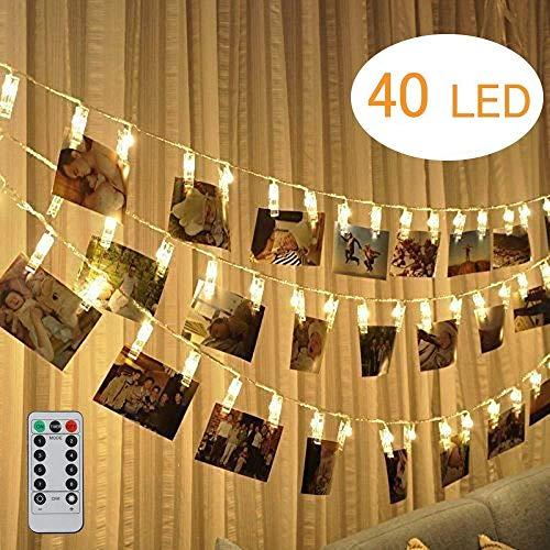 Dricar LED Foto Clips Lichterkette, 40 Fotos Clips Stimmungsbeleuchtung Batteriebetriebene Stimmungslichter mit Fernbedienung für Wand Deko Wohnzimmer, Weinachts Dekoration, Hochzeit (Warmweiß, 5M)