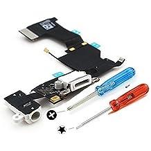 MMOBIEL Conector Dock para iPhone 5S (Blanco) de repuesto Puerto USB, Cable Flex, Micrófono, Audiojack, Antena y botón de inicio instalado, incl. 2 x destornilladores