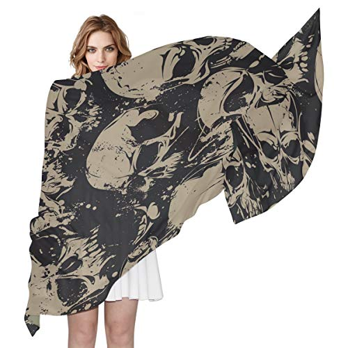 QMIN Schal aus Seide, mit Totenkopf-Motiv, langer, leichter Schal, ordentlicher Schal, für Damen, Mädchen, Damen (Top & Hosen Seide Wrap)