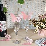 ElecMotive 100 Schmetterlinge Tischkarten Namenskarten Glasanhänger Wandsticker für Tischdeko Hochzeit Party Haus Deco (Pink)