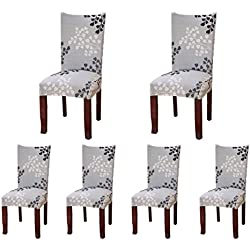 6x morbido spandex elasticizzato Fit sedie da sala da pranzo con motivo stampato, banchetto sedia sedile Slipcover per Hone party hotel cerimonia di nozze Posate da pasto B