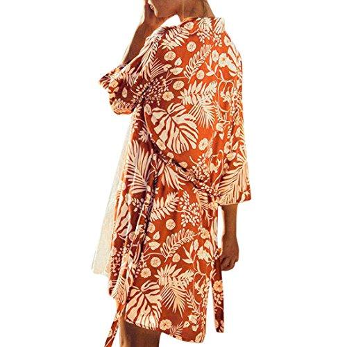 OYSOHE Frauen Chiffon Print Bluse Mode Sommer Damen V-Ausschnitt Badeanzug Bikini Strand Badeanzug Kittel Strickjacke (Metallic-print-bluse)