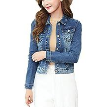 Mujer Chaquetas de Mezclilla Blazer Manga Larga Botón Denim Jacket Corto Solapa Cazadora Vaquera