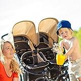 Hauck Roadster Duo SLX - Silla gemelar para gemelos y hermanos de 0 meses hasta 15 kg, con barrera de seguridad, sistema de arnés de 5 puntos, ancho 76 cm, ancho asiento 2 x 31 cm, color beige y negro
