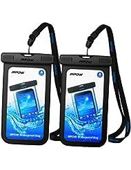 【2 Pack】Pochette étanche Mpow Housse étanche [Certifiée IPX8] Boîtier/Sac/ Etui/Housse/Coque étanche pour Apple iPhone 7/7 Plus/6/6S/6 Plus/SE/5S/5/5C, Galaxy J3/J5/A3/A5/S8/S8 PlusS7/S7 Edge/S6/S6 Edge/Note 4, Huawei P8/P8 Lite/P9/P9 Lite, 6 Pouce, Noir + Noir