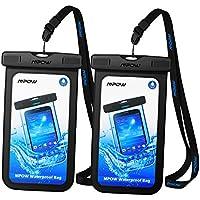 【2 Pack】Pochette étanche Mpow Housse étanche [Certifiée IPX8] Boîtier/Sac/ Etui/Housse/Coque étanche pour Apple iPhone X/8/8 Plus/7 /7 Plus/6/6S/6 Plus/SE/5S/5/5C, Samsung Galaxy J3/J5/A3/A5/S8/S8 PlusS7/S7 Edge/S6/S6 Edge/Note 4, Huawei P8/P8 Lite/P9/P9 Lite, 6 Pouce, Noir + Noir