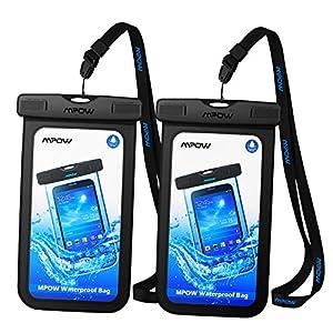 【2 Pack】Pochette étanche Mpow Housse étanche [Certifiée IPX8] Boîtier/Sac/ Etui/Housse/Coque étanche pour Apple iPhone X/8/8 Plus/7 /7 Plus/6/6S/6 Plus/SE/5S/5/5C, Samsung Galaxy J3/J5/A3/A5/S8/S8 PlusS7/S7 Edge/S6/S6 Edge/Note 4, Huawei P8/P8 Lite/P9/P9 Lite, 6 Pouce, Noir + Noir …