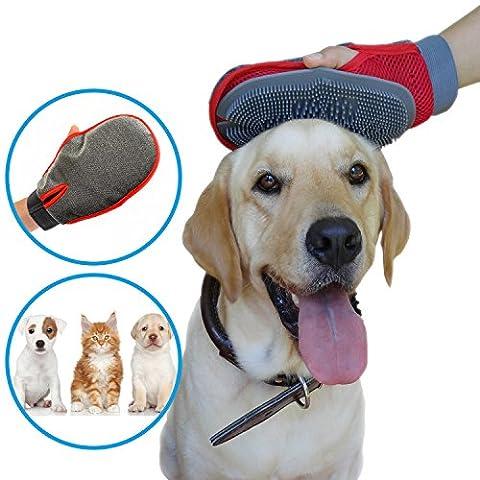 2–1Outil de caoutchouc antistatique Gant de toilettage pour chats et chiens par Exotix–Hair Remover Deshedder Gant–Sangle Velcro–Taille Unique–léger et respectueux de l'environnement–pour les utilisateurs de la gauche et la droite