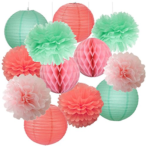 12 Mixed Baby Pink Coral mint Party Pompoms Aufhängen Papier Laterne Wabenbälle Mottoparty Hochzeit Geburtstag Taufe Mädchen Baby Dusche Kinderzimmer Dekoration