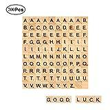 Mengger Lettere Alfabeto Legno tasselli Scarabeo per Artigianato Fai da Te Decorazione Nome Scrapbooking Casa Scrabble dei Bambini 200 Pezzi Lettere