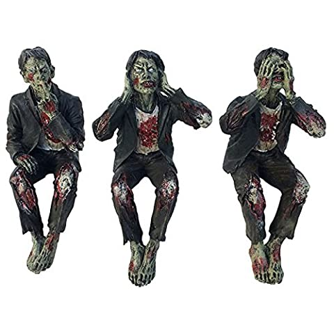 Set of Three Zombies See No, Hear No, Speak No Evil by Gothic Horror