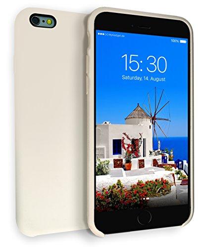 Samt-haut-creme (MyGadget Hardcase Hülle [Gummiert] für Apple iPhone 6+ / 6s Plus - Schutzhülle Case mit Soft Touch Silikon Finish - Back Cover Stoßfest in Matt Creme)