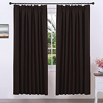 Thermal Insulated Pencil Pleat Curtains   PONY DANCE Premium Drapes Room  Darkening Top Tape Window Treatment Blackout Curtains For Living Room, 2  Panels, ...
