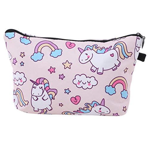 HENGSONG Unicorn Printed Makeup Brush Bag Key Bag Coin Purse Pencil Case with Zipper Gifts (Light Pink)