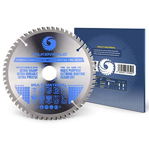FALKENWALD ® Kreissägeblatt 210 x 30 mm - Ideal für Holz, Metall & Alu - Trennscheibe kompatibel mit Kappsäge & Kreissäge von Bosch & Makita - Universal Sägeblatt aus hochwertigem Hartmetall