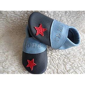 Annes-Lederpuschen Krabbelschuhe mit Namen Taufschuhe Babyschuhe personalisiert Lederpuschen Jungen Geburtsgeschenk…