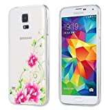 ECENCE Samsung Galaxy S5 i9600 S5 Neo S5 Plus Slim TPU Case-s Strass Glitzer Schutz-Hülle Handy-Tasche Cover Transparent Durchsichtig Silikon Silicone Clear Thin in Lotusblüte 21030507