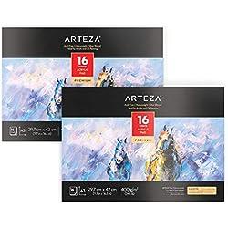 ARTEZA Blocs de dibujo para pintura acrílica | Tamaño A3 | Pack de 2 | 16 hojas x 2 | Papel de pintura grueso (400gsm) | Cuadernos para pintar con acrílicos y al óleo