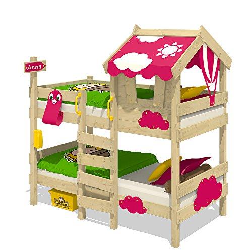 WICKEY Etagenbett CrAzY Daisy Kinderbett Hochbett mit Dach, Fenster, Kletterleiter und Lattenboden, pinke Plane (Mädchen-haus-etagenbett)
