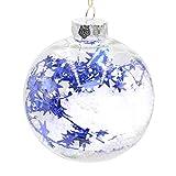 MuSheng Weihnachtskugeln Baumkugeln Kristall Transparent Baumschmuck Kugeln Glänzend Dekorationen Deko Anhänger (6 / 8 /10 cm) (Blau, 8 cm)