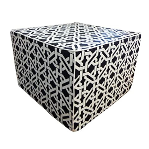 Jiti Istanbul Outdoor Square Polyester Ottoman, 22 by 22 by 15-Inch, Black