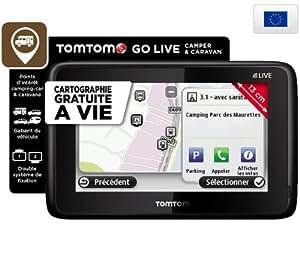 TOMTOM Go Live Camper & Caravan Europe (1CR0.002.28) - Carte à vie - Info Trafic - GPS + 1 an de services Live offerts + Etui CARBON - taille L