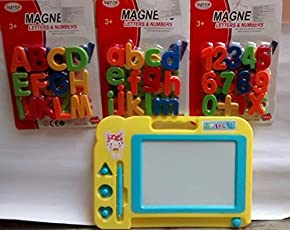 Elite Enterprises Combo of Magnetic Learning Alphabets and Numbers (ABC &123) with Drawing ,Writing Magic Slate for Kids