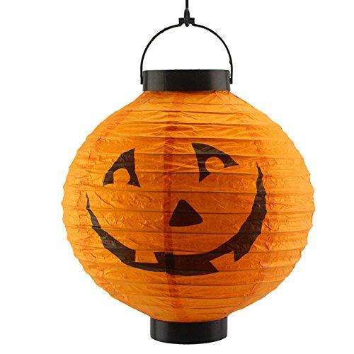 Huhuswwbin Halloween-Party-Laterne mit Beleuchtung, faltbar, Kürbis-Skelett, 20 cm, Schwarz Orange (Halloween-nägel Schwarze Und Orange)