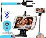 Selfie Stick Monopod With Bluetooth Remote Wireless Shutter Connectivity Compatible For Xiaomi Redmi Note 3 -Cyan
