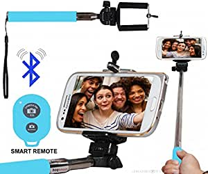 Selfie Stick Monopod With Bluetooth Remote Wireless Shutter Connectivity Compatible For Coolpad Note 3 Lite (5.0 Inch) -Cyan