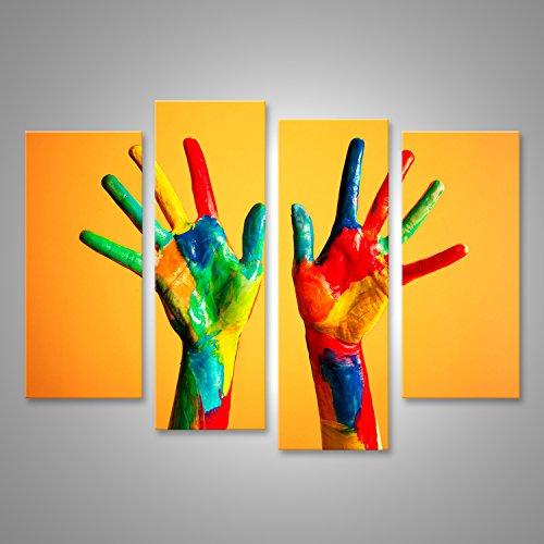 Quadro moderno mani dipinte, colorato divertimento creativo, divertente e felice artistica stampa su tela - quadro x poltrone salotto cucina mobili ufficio casa - fotografica formato xxl