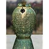 Homesake Crackle Flower Pot with Brooch Neck Turquoise