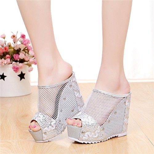 ZYUSHIZ Sandalen Hausschuhe Sommer Frau Outdoor minimalistischen Ding Schuhe Silber