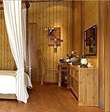 Papier Peint Imitation Bois Papier Peint Chinois Vintage en Bois Massif 3D SKY TEARS (Jaune foncé)