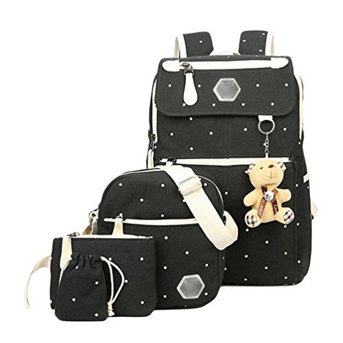 Imagen de youjia 5 pcs sets de útiles escolares para adolescentes, ocio colegio  + bolsos bandolera + estuches + cartera + colgante de oso de peluche negro