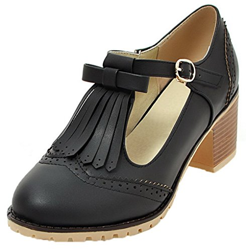 VogueZone009 Femme Rond Matière Mélangee Houppe Boucle Chaussures Légeres Noir