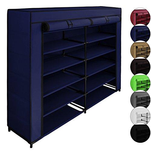 BB Sport Schuhregal PAUL mit 6 Etagen Faltschrank 115 x 28 x 110 cm Schuhschrank mit 12 Böden , Farbe:Brillantblau