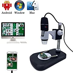 Idea Regalo - Microscopio digitale USB camera, Jiusion 40 -1000x portatile ingrandimento endoscopio 8 LED con caricabatteria professionale supporto, compatibile con Mac Windows XP 7 8 10 OTG Android Linux