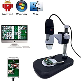 USB Digital Microscope Camera, Jiusion 40 -1000X Portable Magnification Endoscope 8 LEDs with Adaptor Professional Stand, Compatible with Mac Window XP 7 8 10 OTG Android Linux