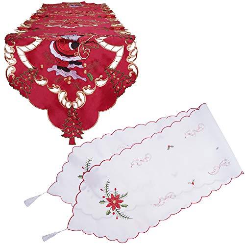 2 pezzi runner da tavola di natale bordeaux rosso + bianco con ricamo a forma di babbo natale e fiore ed elegante tovaglia a nappa nastro decorativo da tavola di natale per la festa