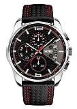 SKMEI Unisex Uhr Herren Damen Armbanduhr Leder Analog Quarz Uhren mit Kalender Chronograph 5ATM Wasserdicht Klassische Uhr Schwarz Rot 3108