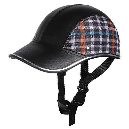 Shsyue®moto casco aperto mezzo volto in stile baseball unisex adulto cappello anti-uv, cinghia regolabile, camouflage + nero
