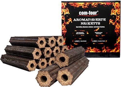 com-four® 10 Kg Holz-Briketts aus Apfelholz, 100% natürliche Holz Grillkohle für Smoker-, Kugel- und Standgrills (10kg - Briketts aromatisiert) - Kokos-note