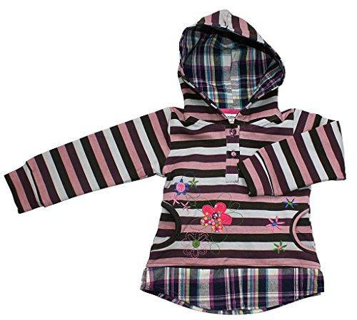 Preisvergleich Produktbild Mädchen Kinder Shirt Langarm mit Kapuze BLUMENWIESE in lila karo-gestreift Größe 110 (4-5 Jahre)
